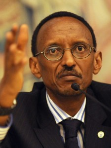 Rwandan President Kagame answers reporter's questions during a news conference in  Frankfurt